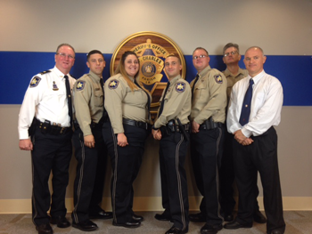 Four St. Bernard Parish sheriff's deputies graduated a police training academy in St. Charles Parish on Oct. 30. Shown from left are Maj. David DiMaggio, head of training for the Sheriff's Office; graduating deputies Jeremy Lobre, Brooke Sevin, William Hery and Richard Ragan, Capt. Andre Dominick and Capt. Adrian Chalona.
