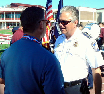 Sheriff James Pohlmann, speaking with new Parish Council member Howard Luna, attended the Special Olympics.