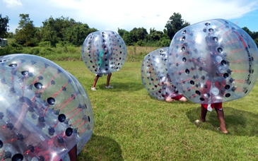 Kids play knockerball.