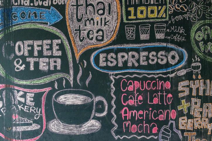 Sign menu coffee and tea