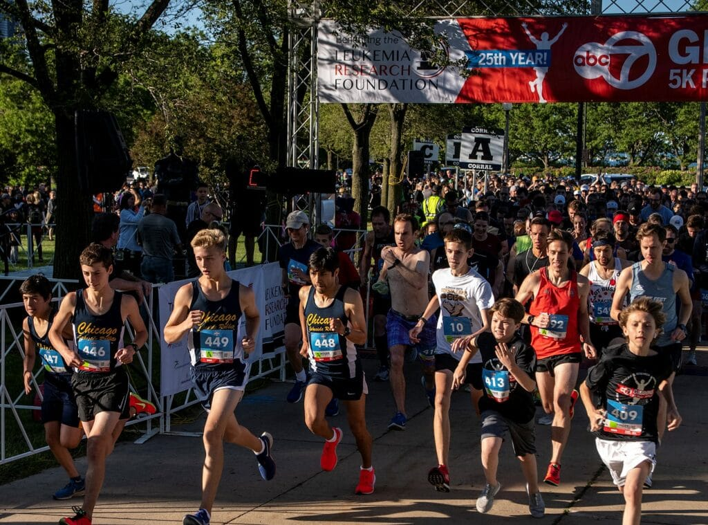Participants compete in the 25th Annual ABC 7 Gibbons 5K Run & 3K Walk in Chicago, IL on Thursday, June 13, 2019. Photo: Christopher Dilts / Leukemia Research Foundation