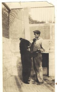 Irvin B. Fisher and bear, from the Fisher collection of the author