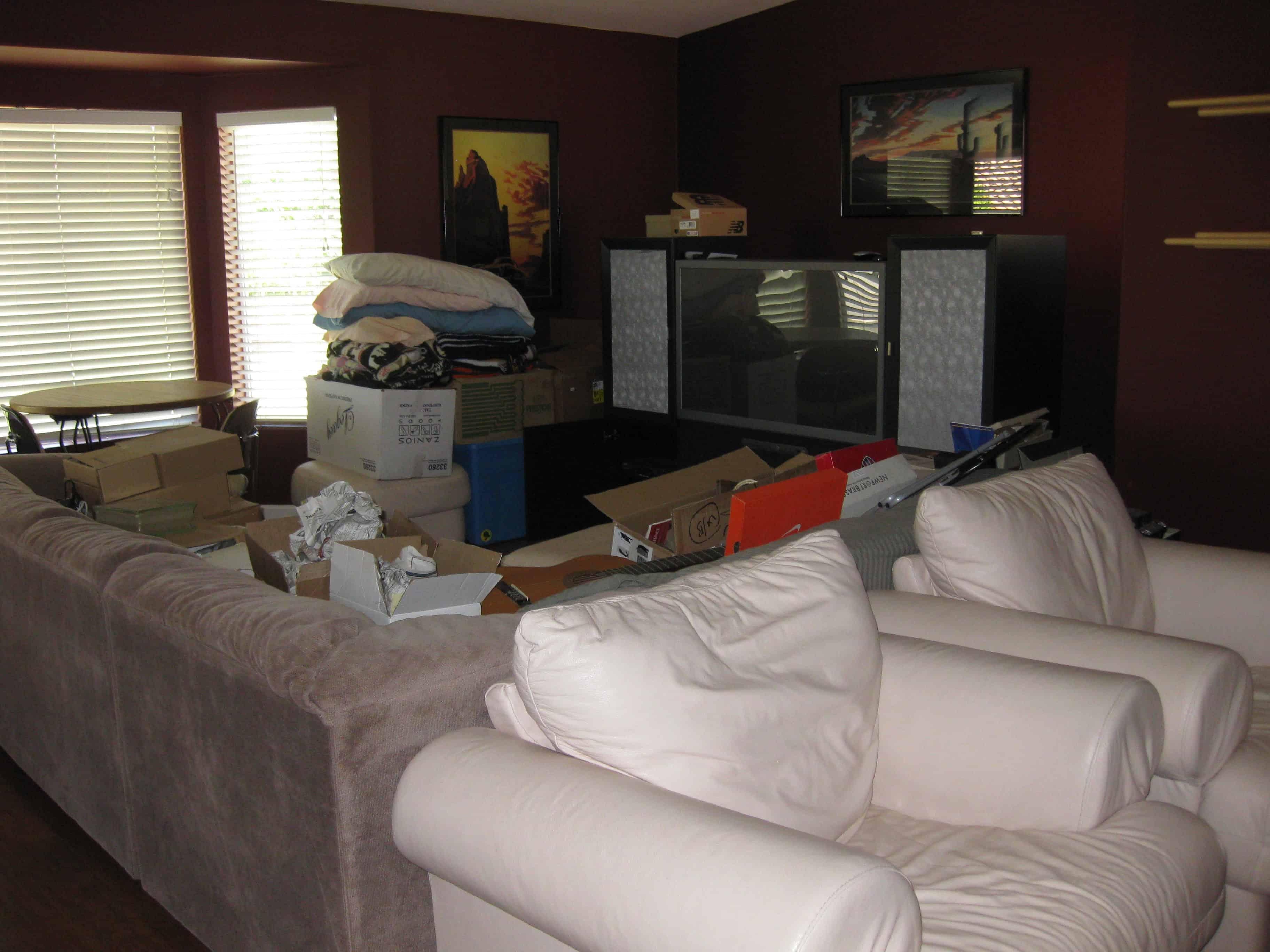 Unorganized living room