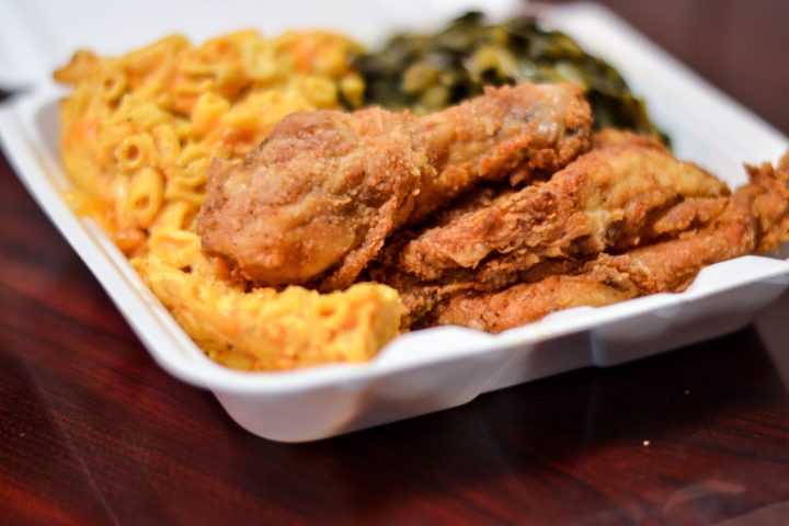 picture of soul food (fried chicken, Mac and cheese, and greens).