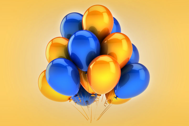blue and gold balloons
