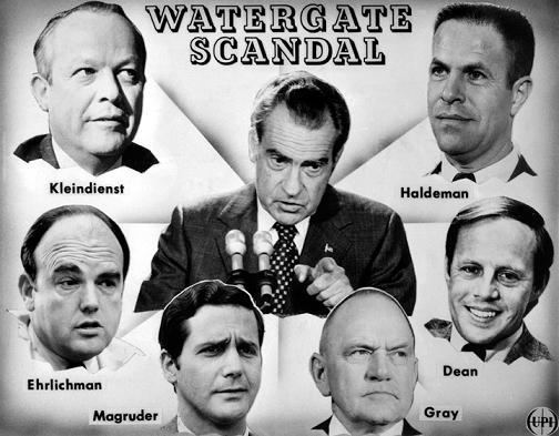"Original caption: President Richard Nixon, claiming he was misled by his staff, has assumes ""full responsibility"" for the Watergate bugging and indicated a special prosecutor may be named to investigate the worst crisis of his presidency. Six top administration officials have resigned as a consequence of the case. Attorney General Richard G.Kleindienst and top White House aides H.R.Haldeman, John D.Ehrlichman and John W.Dean III all resigned April 30. Last week, L.Patrick Gray III, acting director of the F.B.I., and Jeb Stuart Magruder, a former Haldeman aide, also resigned."