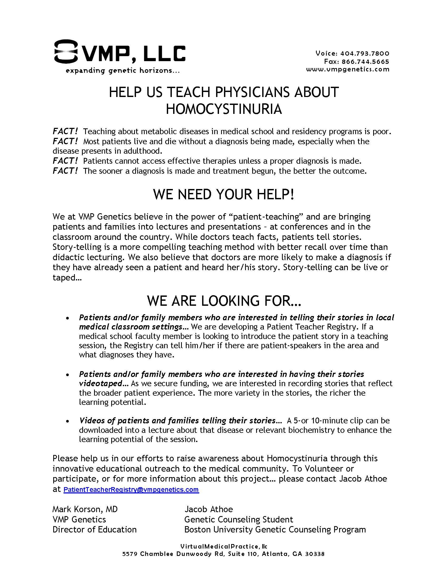 VMP: Patient as Teacher