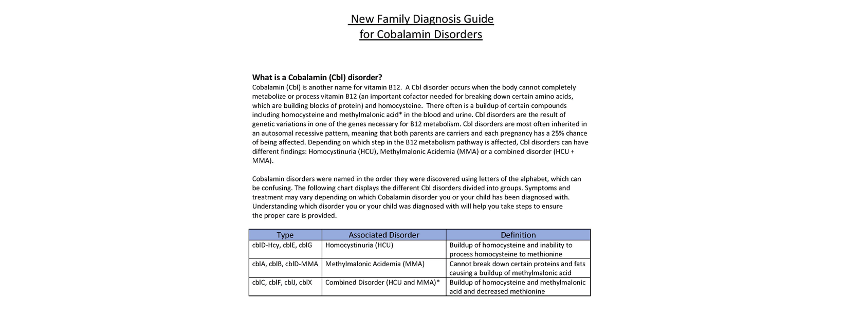 New Family Guide for Cobalamin Disorders