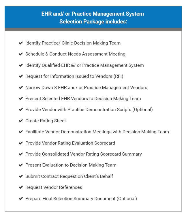 Care Vitality - EHR Practice Management System Selection Package