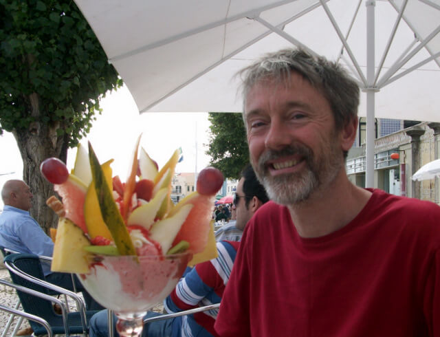 Mike with a massive 'copa primaveira' ice cream sundae in Figueira da Foz
