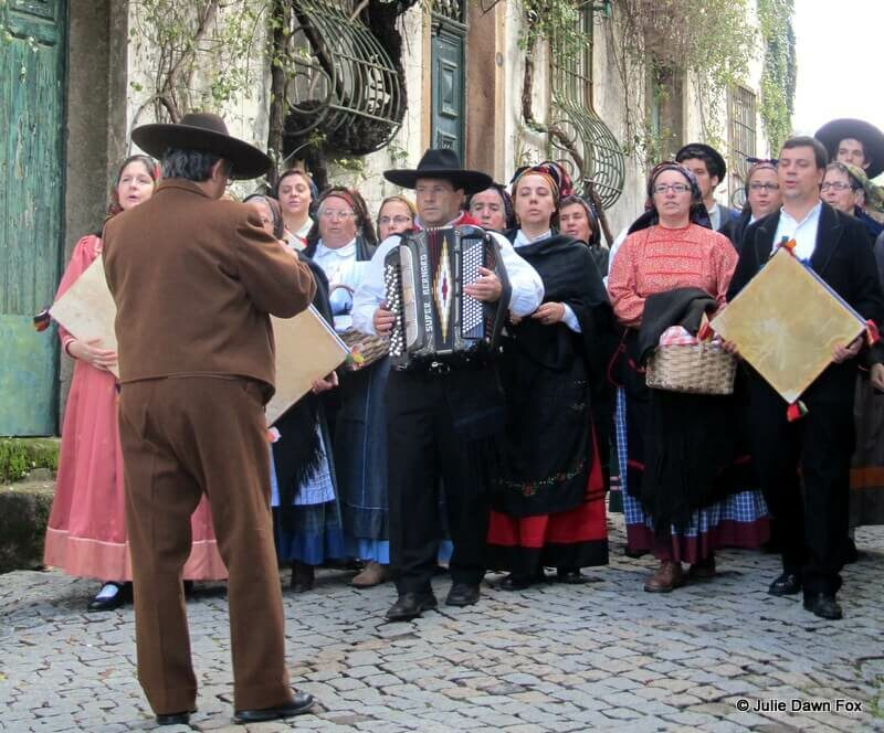Adufeiras de Penha Garcia. Portuguese folk music troupe performing in the street