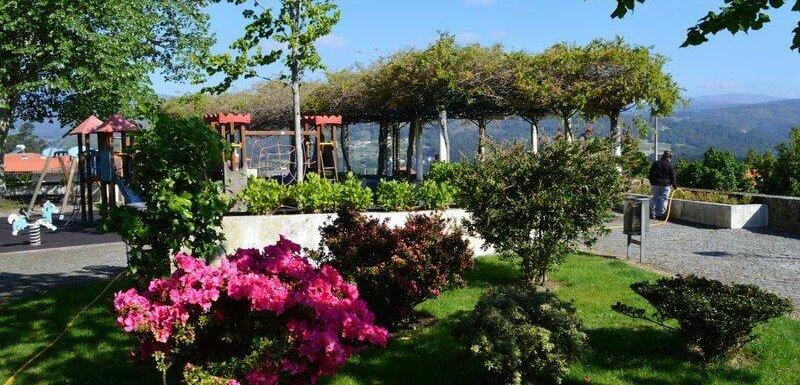 Gardens, playground and views outside Melgaço castle, Portugal