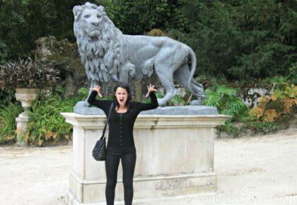 Sofie goofing around at the Quinta da Regaleira palace in Sintra