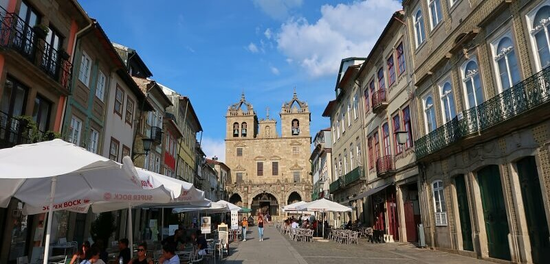 Braga street with cathedral at the end