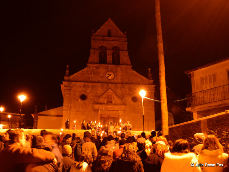 Crowd outside Podence church