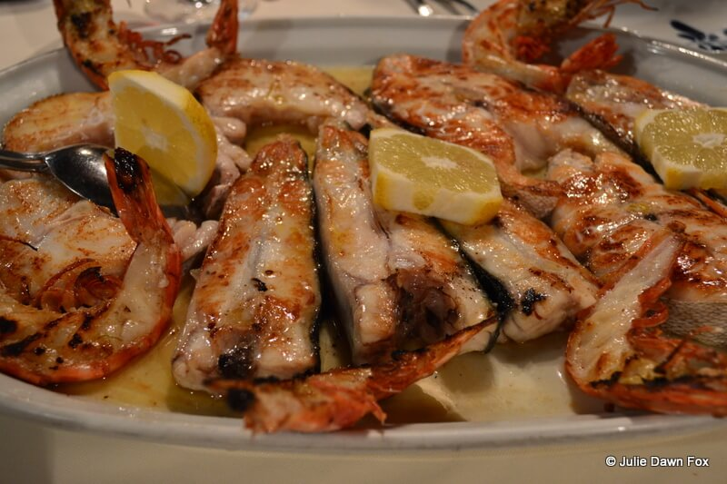 Grilled fish and prawns