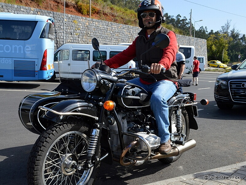 Filipe on his beautiful Ural motorbike with sidecar, Madeira
