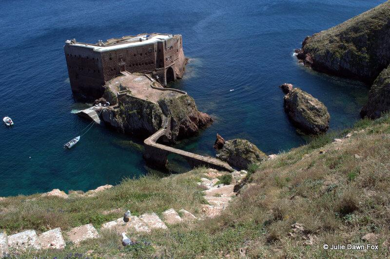 Fort of São João Baptista das Berlengas with steps and boats