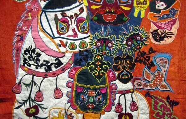 Colourful embroidered appliqué hanging, Museu do Oriente, Lisbon