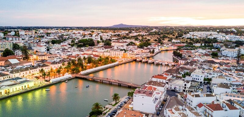 Aerial shot of Tavira and the Gilão River in the Eastern Algarve, Portugal