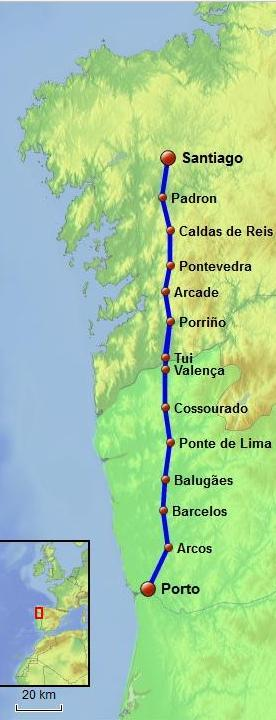 Portuguese Way of Saint James Central Route map