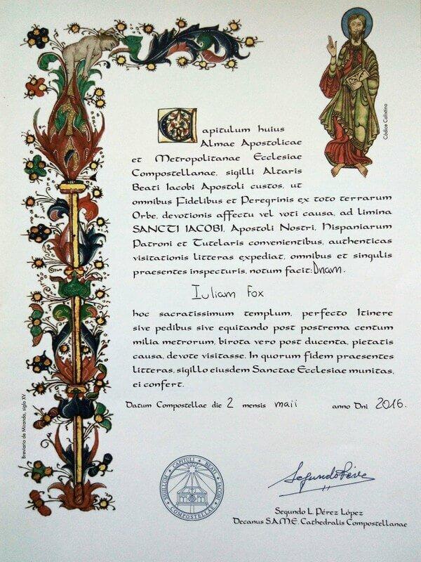 My Compostela certificate achievement from walking the Camino de Santiago to Santiago de Compostela