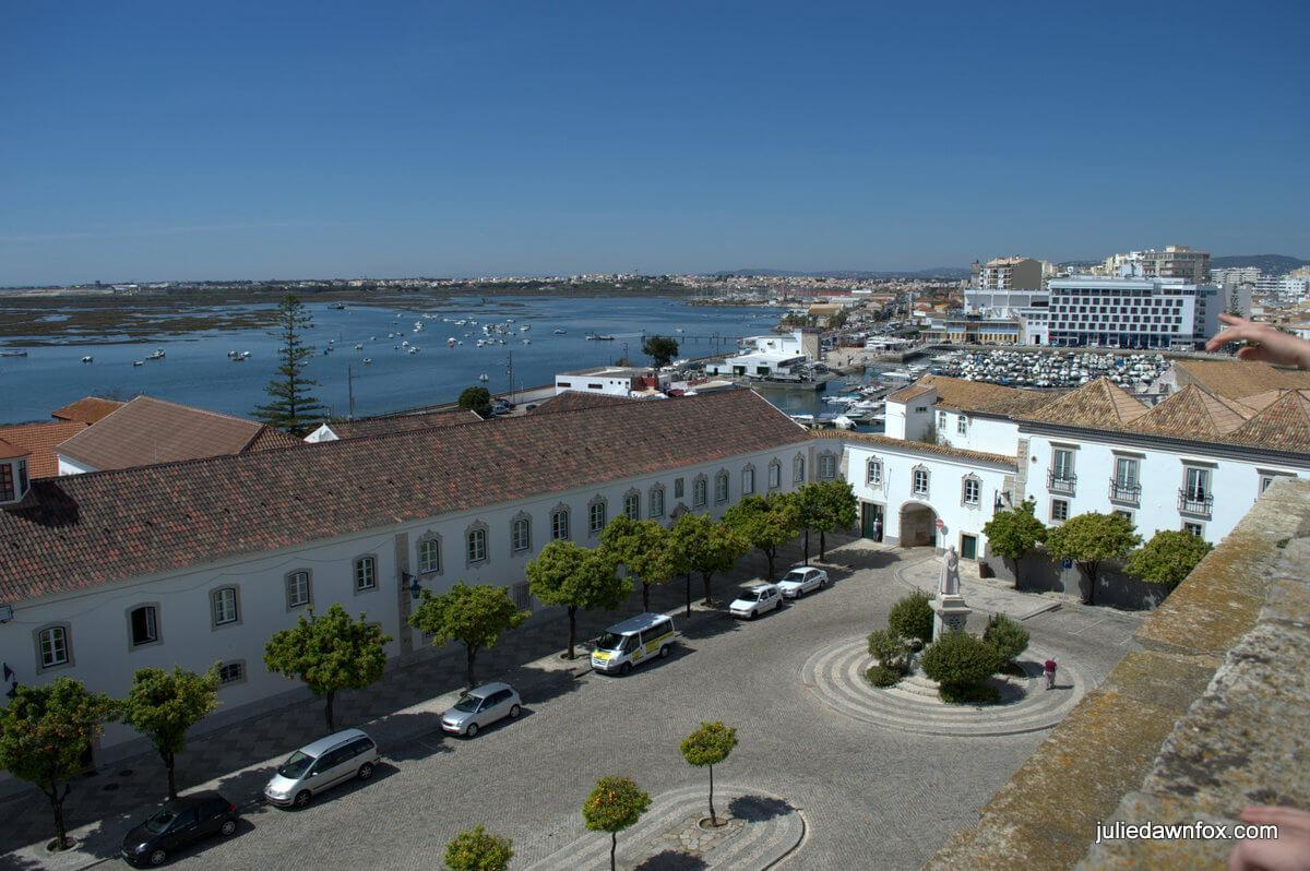 View of Largo da Sé and Ria Formosa from Faro Cathedral, one of many things to do in Faro Portugal