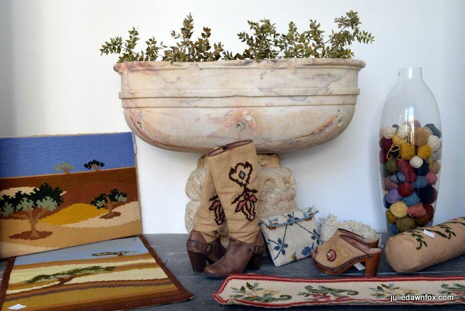 Tapestry inspired products on sale at Arraiolos Pousada
