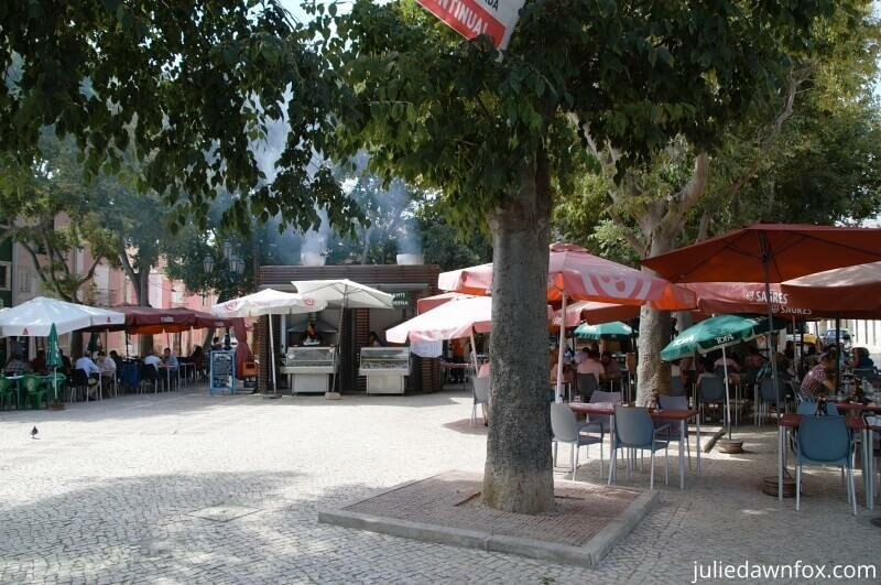 Square full of fish restaurants, Setubal