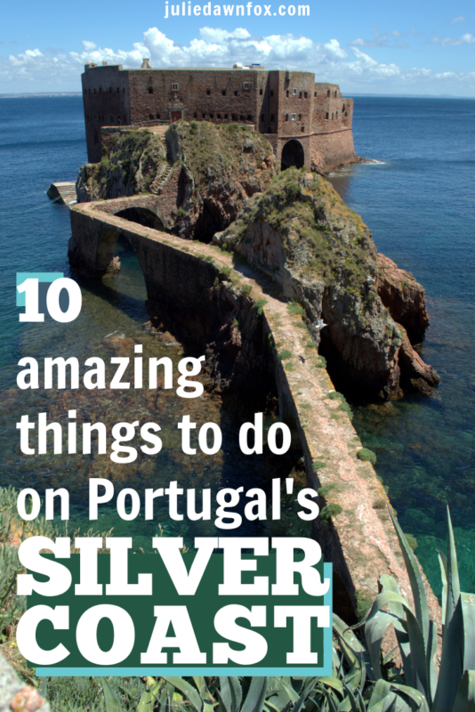 Fortress at sea. The beautiful, green area of Central Portugal known as the Silver Coast has loads to offer: glorious beaches, ancient and fascinating towns and villages and activities ranging from wine tasting in windmills to visiting a stunning nature reserve island. Read on for 10 amazing ideas to help you make the most of your time there!