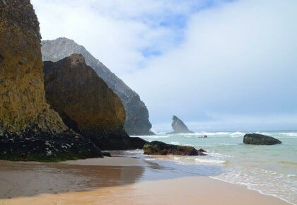 Rocky coastline, Praia da Adraga, one of several beautiful Sintra beaches