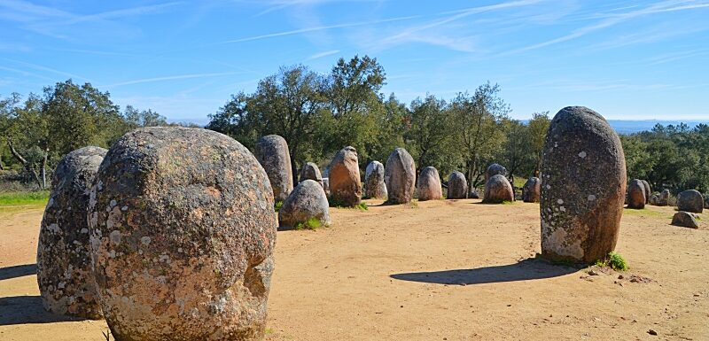 Almendres megalithic standing stones near Evora Portugal
