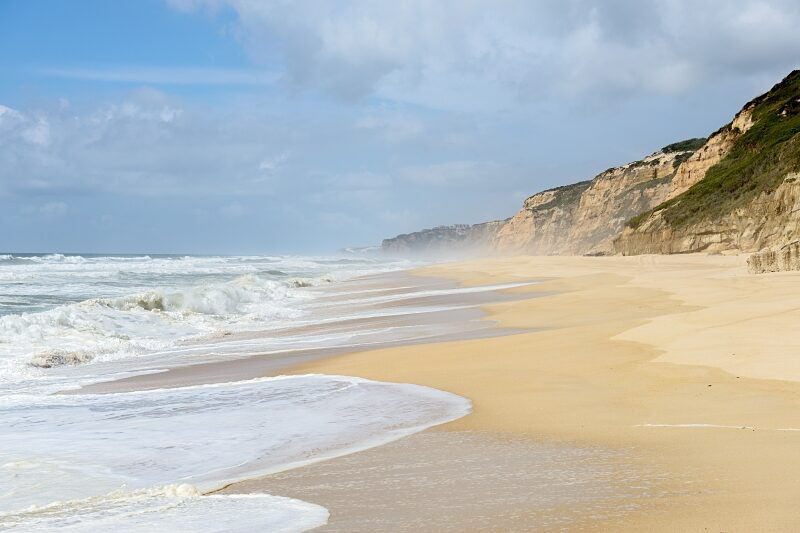 Waves at the beach of Praia do Norte, Nazare