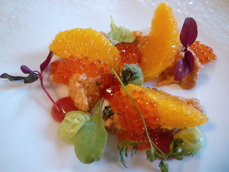 Edible crab, orange and roe.