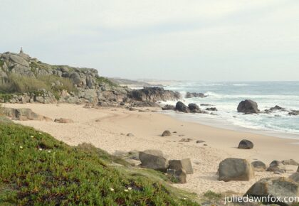 Rocky beach of Praia Castro Sampaio, Portuguese coast between Matosinhos and Vila do Conde, Camino Portugues