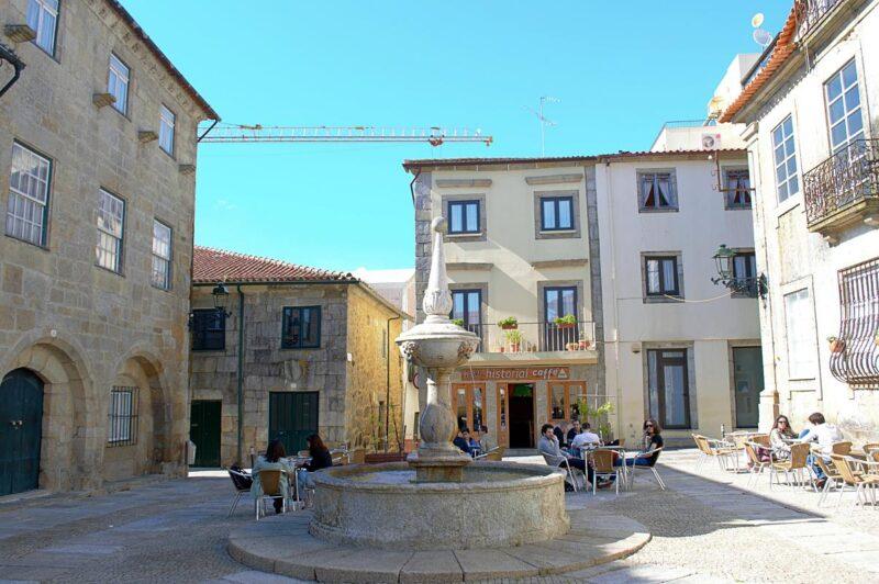 Fountain in a square in Barcelos historical centre