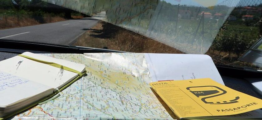 N2 Portugal road trip with passport and map