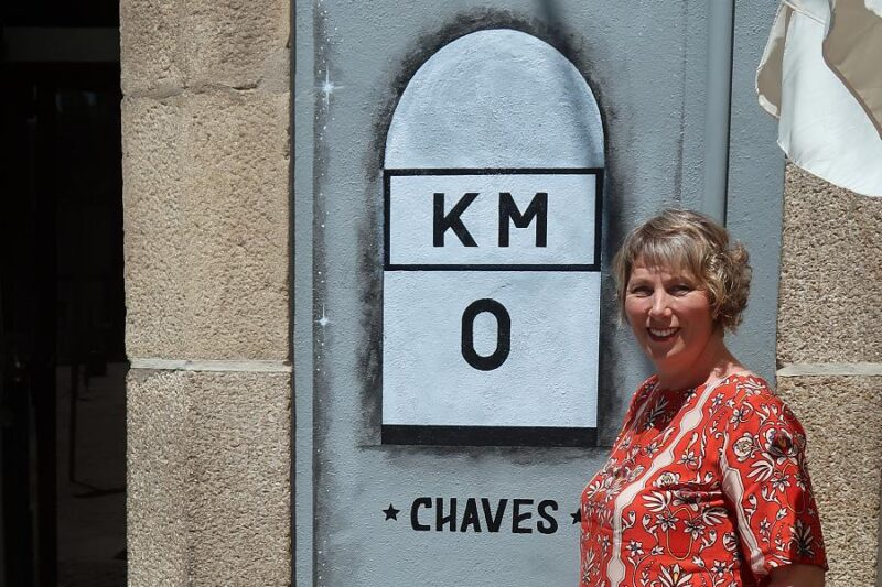 Julie in Chaves at Kilometre 0 of the Nacional 2 Portugal road trip