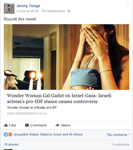 Jenny Tonge boycotting Gal Gadot