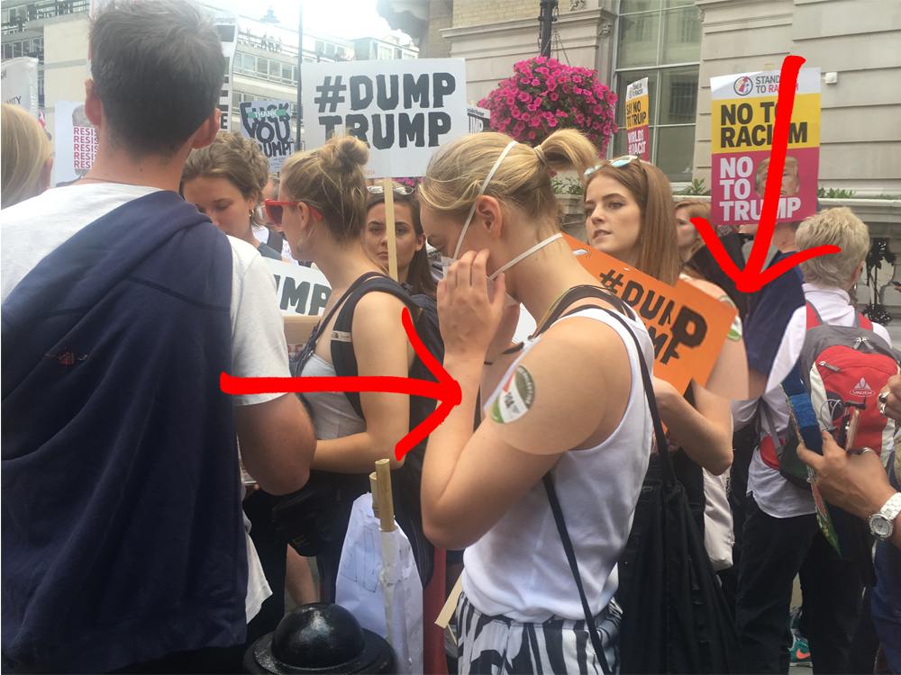 anti-Israel stickers on the anti-Trump demo