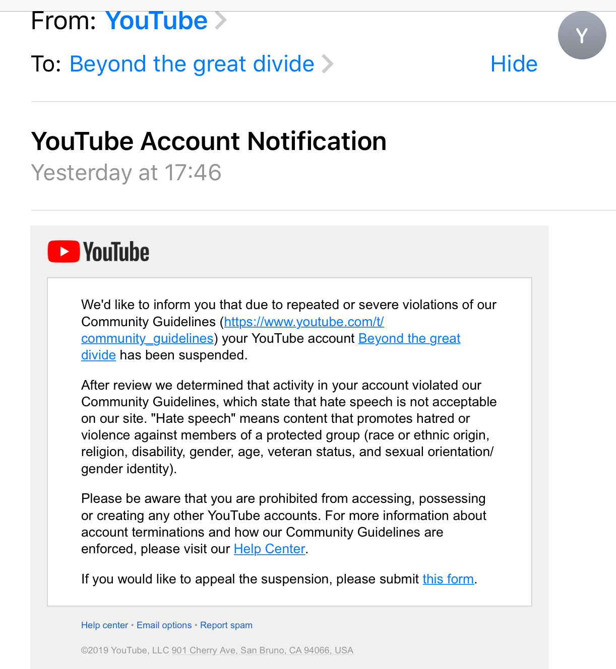 YouTube email