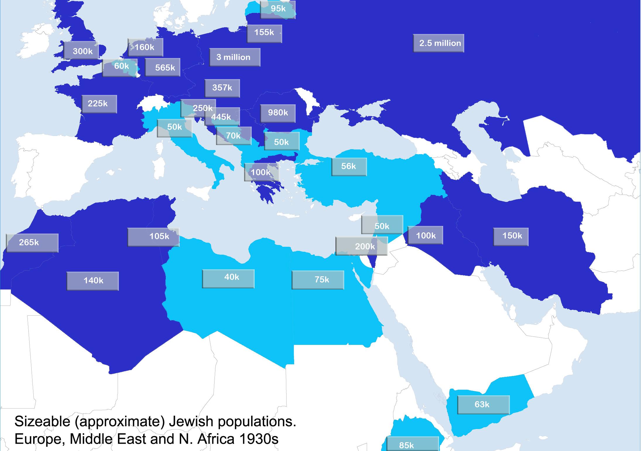 Jewish population map 1930s