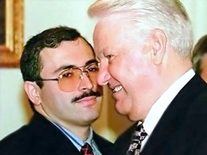 Mikhail Khodorkovsky and the first Russian President Boris Yeltsin