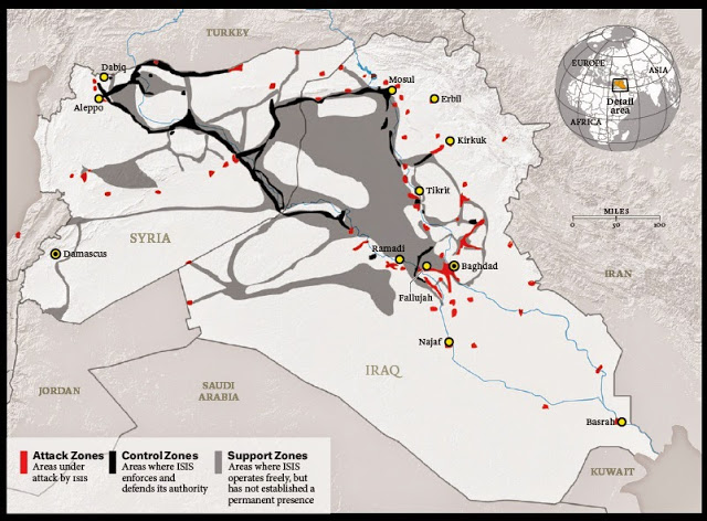 Image: The conflicts in Syria and Iraq are far from internal. Looking at a map of territory used or held by ISIS and other Western-backed sectarian extremists, it is clear that the current conflict is a regional invasion streaming out of NATO-member Turkey and US ally Jordan, now admittedly with the help of both Saudi Arabia and Qatar.