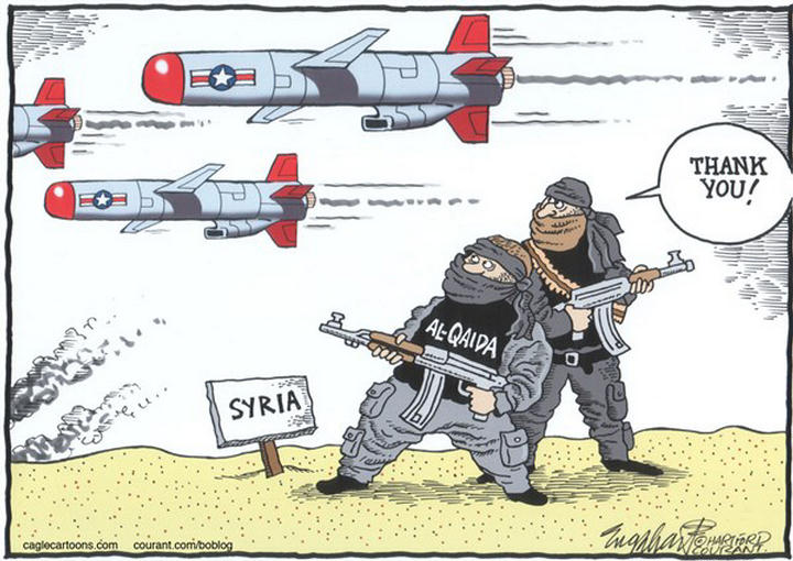 Syria-US-fighters-support-Al-Qaeda-toon