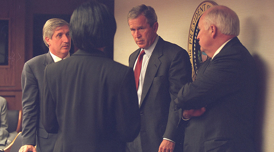 U.S. President George Bush (2nd R) is pictured with Vice President Dick Cheney (R) and senior staff in the President's Emergency Operations Center in Washington in the hours following the September 11, 2001 attacks in this U.S National Archives handout photo obtained by Reuters July 24, 2015. REUTERS/U.S. National Archives/Handout via Reuters (MILITARY POLITICS DISASTER) THIS IMAGE HAS BEEN SUPPLIED BY A THIRD PARTY. IT IS DISTRIBUTED, EXACTLY AS RECEIVED BY REUTERS, AS A SERVICE TO CLIENTS. FOR EDITORIAL -- USE ONLY. NOT FOR SALE FOR MARKETING OR ADVERTISING CAMPAIGNS - RTX1LQAW