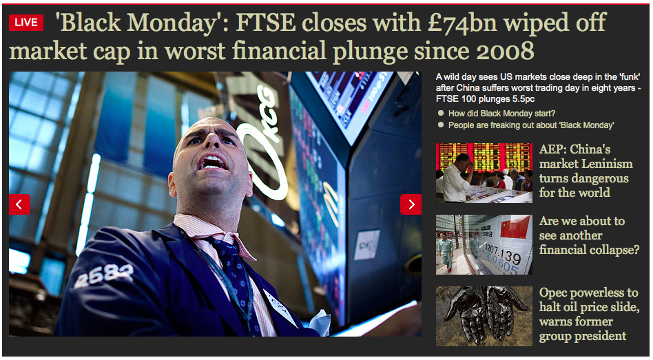 Screenshot from The Telegraph on Black Monday, August 24, 2015