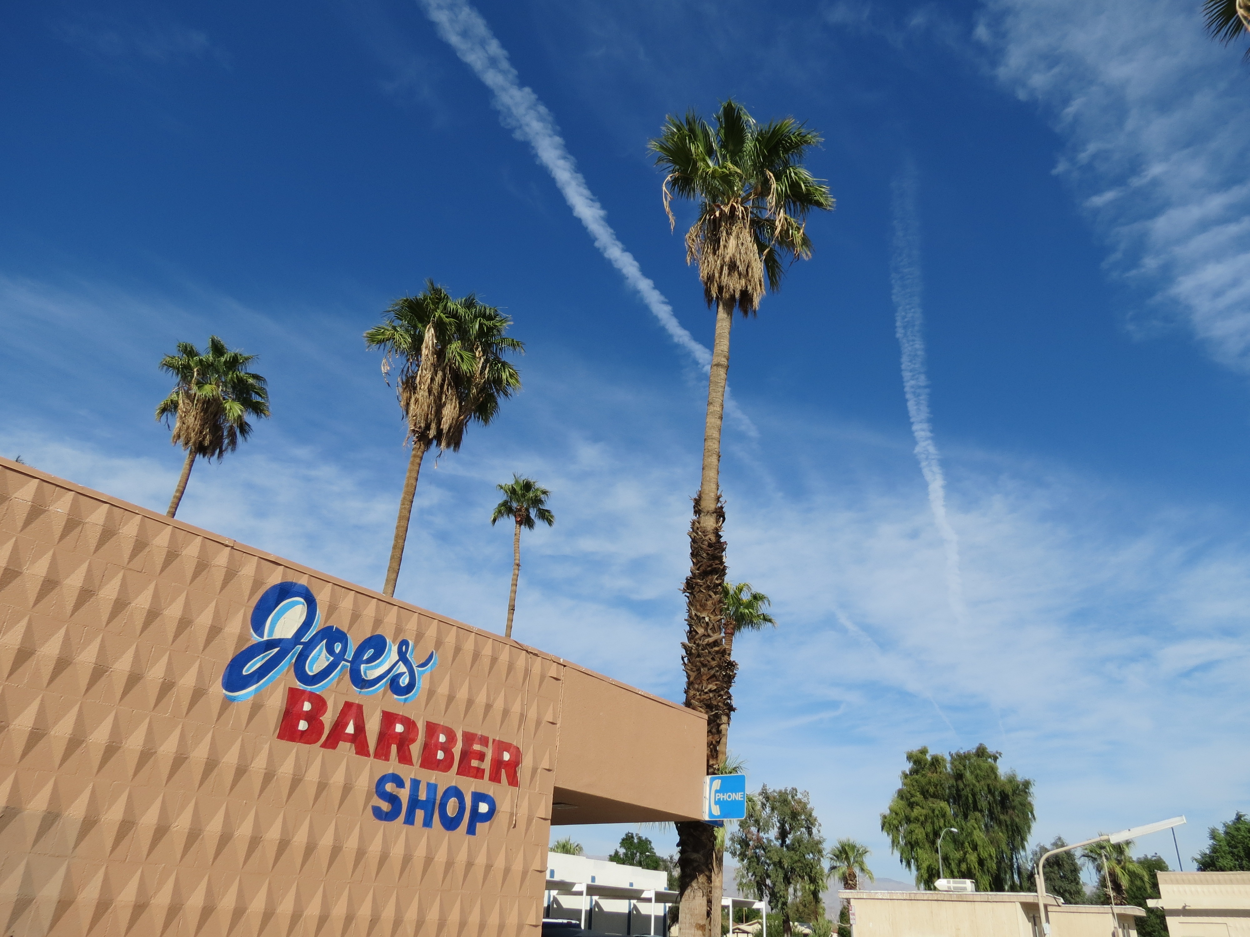 Chemtrails Over Joe's Barber Shop - Indio, California
