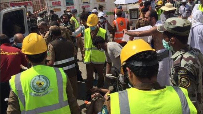 The Saudi civil defence authority said rescue operations were under way