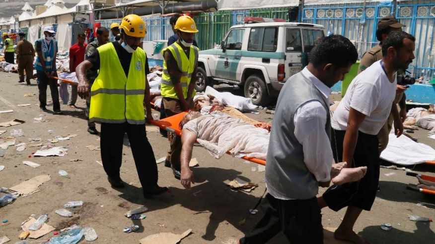 Sept. 24, 2015- FILE photo of emergency workers attending to victims of a stampede in Mina, Saudi Arabia during the annual hajj pilgrimage. A new tally shows last month's crush and stampede at the Saudi hajj was the deadliest event to ever strike the annual pilgrimage. (AP)